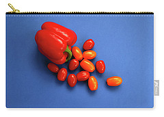 Tomatoes And Capsicum On Blue Carry-all Pouch