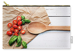 Carry-all Pouch featuring the photograph Tomatoes On Wooden Spoon Still Life by Rebecca Cozart
