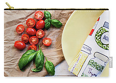 Carry-all Pouch featuring the photograph Tomatoes On Yellow Plate by Rebecca Cozart