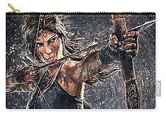 Carry-all Pouch featuring the digital art Tomb Raider by Taylan Apukovska
