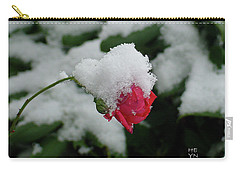 Too Soon Winter - Red Rose  Carry-all Pouch by Shirley Heyn