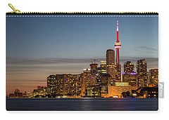 Carry-all Pouch featuring the photograph Toronto Skyline At Dusk by Adam Romanowicz