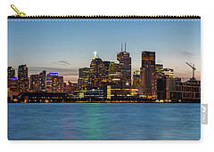 Carry-all Pouch featuring the photograph Toronto Skyline At Dusk Panoramic by Adam Romanowicz