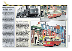 Carry-all Pouch featuring the painting Toronto Sun Article Streetcars Brush With Fame by Kenneth M Kirsch