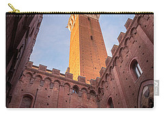 Carry-all Pouch featuring the photograph Torre Del Mangia Siena Italy by Joan Carroll