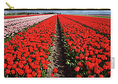 Tot Far Away Red Tulips Field Carry-all Pouch by Mihaela Pater