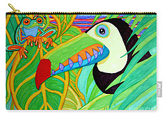 Toucan And Red Eyed Tree Frog Carry-all Pouch by Nick Gustafson