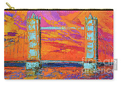 Tower Bridge Colorful Painting, Under Vibrant Sunset Carry-all Pouch