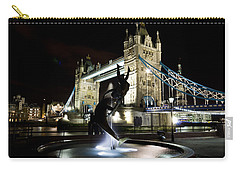 Tower Bridge With Girl And Dolphin Statue Carry-all Pouch
