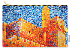Carry-all Pouch featuring the painting Tower Of David At Night Jerusalem Original Palette Knife Painting by Georgeta Blanaru