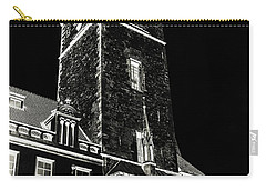 Carry-all Pouch featuring the photograph Tower Of Old Town Hall In Prague. Black by Jenny Rainbow