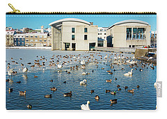 Carry-all Pouch featuring the photograph Town Hall And Swans In Reykjavik Iceland by Matthias Hauser