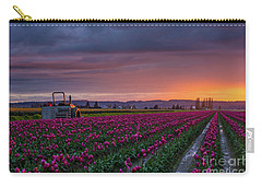 Carry-all Pouch featuring the photograph Tractor Waits For Morning by Mike Reid