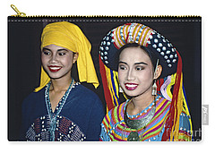 Carry-all Pouch featuring the photograph Traditional Dressed Thai Ladies by Heiko Koehrer-Wagner