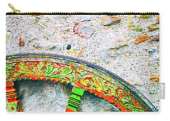 Carry-all Pouch featuring the photograph Traditional Sicilian Cart Wheel Detail by Silvia Ganora
