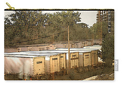 Carry-all Pouch featuring the digital art Trailers On Plankinton by David Blank