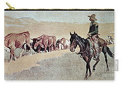 Trailing Texas Longhorns Carry-all Pouch by Frederic Remington