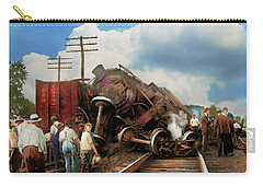 Carry-all Pouch featuring the photograph Train - Accident - Butting Heads 1922 by Mike Savad