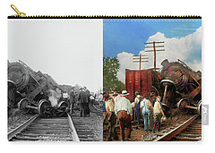 Carry-all Pouch featuring the photograph Train - Accident - Butting Heads 1922 - Side By Side by Mike Savad