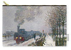 Train In The Snow Or The Locomotive Carry-all Pouch by Claude Monet