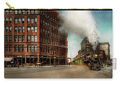 Carry-all Pouch featuring the photograph Train - Respect The Train 1905 by Mike Savad