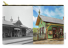 Carry-all Pouch featuring the photograph Train Station - Garrison Train Station 1880 - Side By Side by Mike Savad