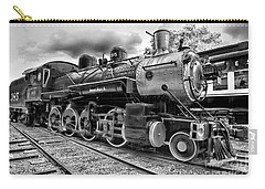Train - Steam Engine Locomotive 385 In Black And White Carry-all Pouch