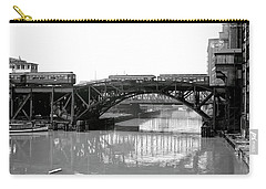 Carry-all Pouch featuring the photograph Trains Cross Jack Knife Bridge - Chicago C. 1907 by Daniel Hagerman