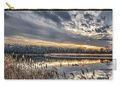 Tranquil Chesapeake Bay Pond During Winter At Sunset Carry-all Pouch