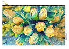 Carry-all Pouch featuring the photograph Tranquility Of Spring - Yellow Tulips by Miriam Danar