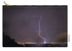 Carry-all Pouch featuring the photograph It's A Hit Transformer Lightning Strike by James BO Insogna