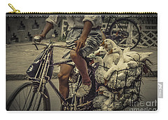 Carry-all Pouch featuring the photograph Transport By Bicycle In China by Heiko Koehrer-Wagner