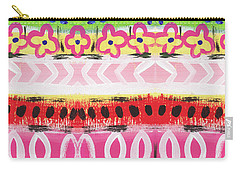 Carry-all Pouch featuring the mixed media Painted Pattern 1- Art By Linda Woods by Linda Woods