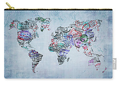 Traveler World Map Blue 8x10 Carry-all Pouch