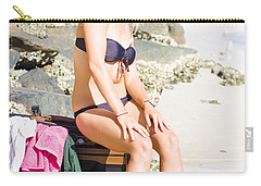 Carry-all Pouch featuring the photograph Traveling Tourist With Suitcase On Beach Vacation by Jorgo Photography - Wall Art Gallery