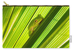 Tree Frog And Palm Frond Carry-all Pouch by Kenneth Albin