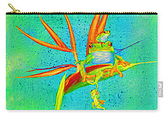 Tree Frog On Birds Of Paradise Square Carry-all Pouch