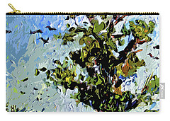 Carry-all Pouch featuring the mixed media Tree In Summer Sun Mixed Media by Ginette Callaway