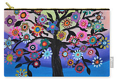 Blooming Tree Of Life Carry-all Pouch by Pristine Cartera Turkus