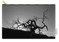 Carry-all Pouch featuring the photograph Tree Of Light Silhouette Hillside - Black And White  by Matt Harang