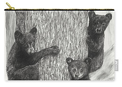 Carry-all Pouch featuring the drawing Tree Trio  by Meagan  Visser