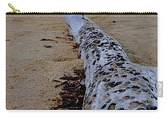 Tree Trunk And Shell On The Beach Full Size Carry-all Pouch by Exploramum Exploramum