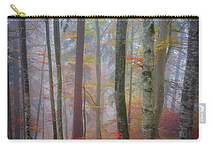 Carry-all Pouch featuring the photograph Tree Trunks In Fog by Elena Elisseeva