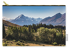 Carry-all Pouch featuring the photograph Tree View Of Mt Cook Aoraki by Gary Eason