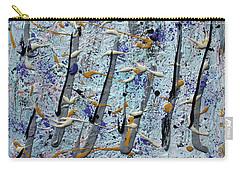 Carry-all Pouch featuring the painting Trees Thru White Out by Pam Roth O'Mara