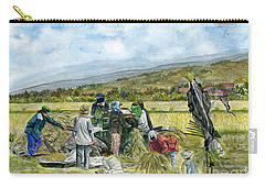 Carry-all Pouch featuring the painting Treshing Rice by Melly Terpening