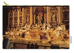 Carry-all Pouch featuring the photograph Trevi At Night by Donald Paczynski