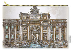 Carry-all Pouch featuring the painting  Trevi Fountain,rome  by Andrzej Szczerski