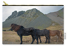 Carry-all Pouch featuring the photograph Tri - Color Icelandic Horses by Dubi Roman