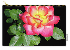 Tri-color Pink Rose2 Cutout Carry-all Pouch by Shirley Heyn